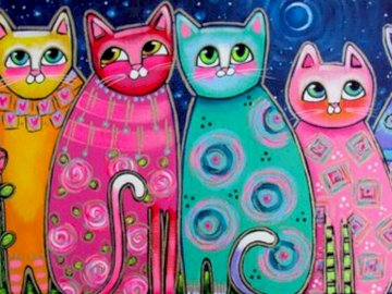 colourful cats - JIGSAW PUZZLE FOR FOR CHILDREN OF KINDERGARTEN AND CP CLASSES. 6-8 YEARS OLD