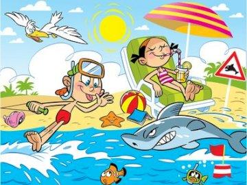 wakacje- obrazek dla dzieci - Puzzle wakacyjne przedstawiające wakacje nad morzem