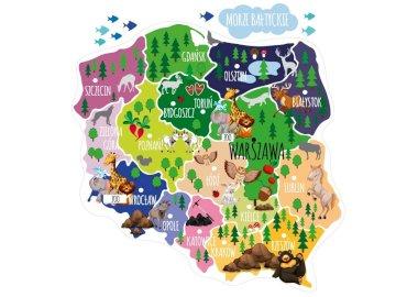 Mapa Polski - Puzzle te są przeznaczone dla klas od 0 do 3 - poziom łatwy