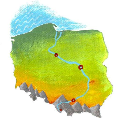 Wisła pe hartă - Peisajul polonez - frumusețea naturii Vistula. Harta Poloniei cu Vistula. Completați puzzle-ul și ghiciți numele râului din imagine?. Un apropiat al unui animal (4×4)