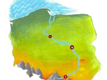 Wisła auf der Karte - Karte von Polen mit der Weichsel