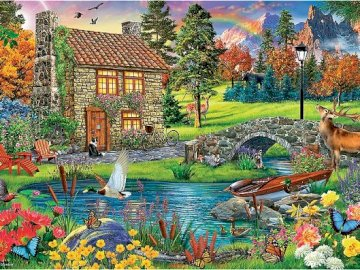 In the mountains. - Puzzle: colorful mountain landscape.