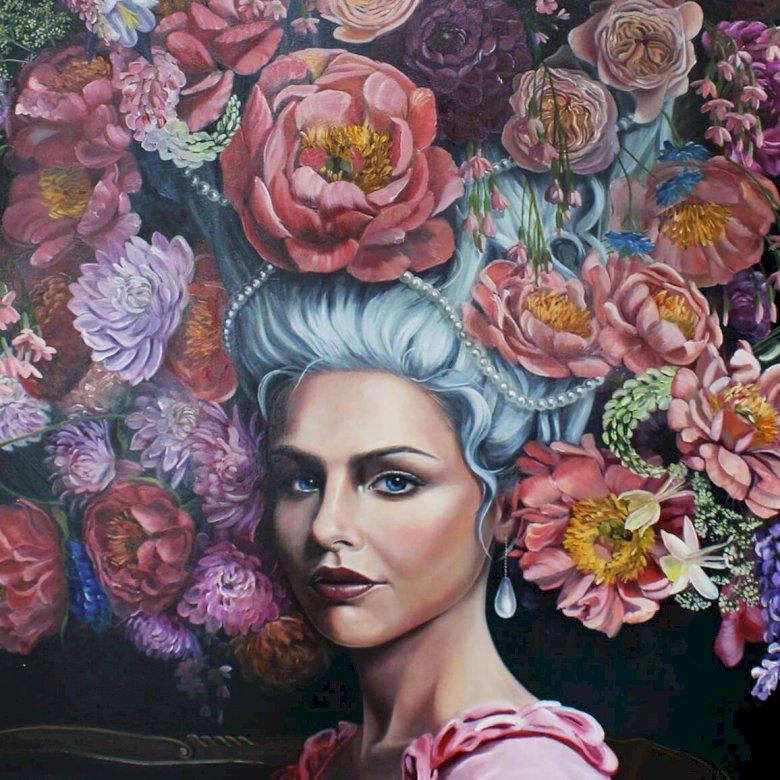 Mademoiselle Rose - femme, roses, fleurs, beauté (10×10)