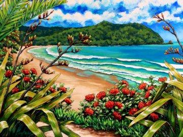 Wybrzeże Nowej Zelandii - sztuka, nowa zelandia, wybrzeże