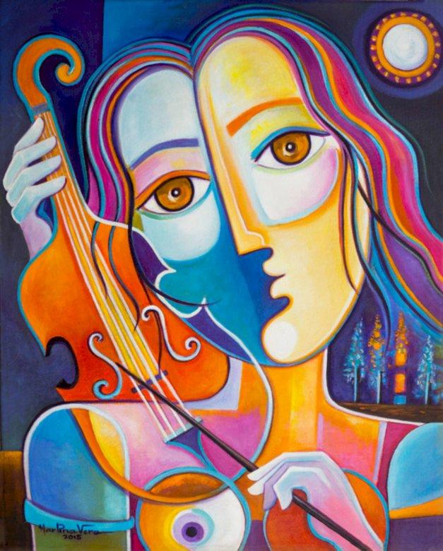 cellist - kvinna, cellist, konst (9×11)