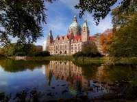 panorama with reflection in water - New Town Hall in Hanover