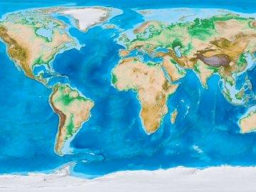 Φυσικός χάρτης του κόσμου - Παγκόσμιος χάρτης - εργασία για παιδιά
