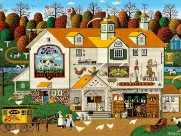 Boerderij - Charles Wysocki - boerderij, boerderij, huis