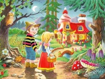 Jaś i Małgosia - piękny obrazek Jasia i Małgosia dla dzieci