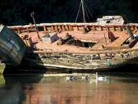 Oude boten - Oude boten verlaten door de kust