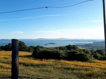 Jezioro Trasimeno - piękna panorama z gór Trasimeno