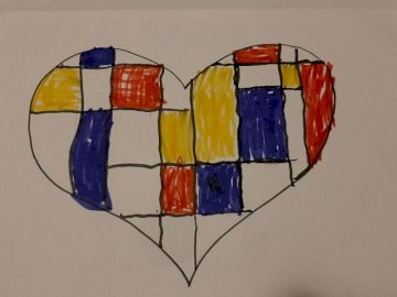 Művészi szív - egy szív rajzát, amelyet Mondrian ihlette