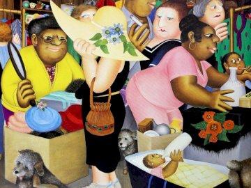 Beryl Cook - utcai piac - festmény, művészet, emberek, szín