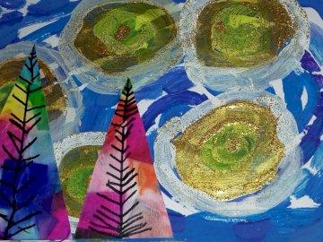"""""""Csillagos éj"""" - művészi formatervezés, amelyet Van Gogh csillagos éjszaka ihlette"""