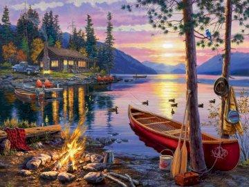 'S Avonds bij het vuur - avond, vreugdevuur, jachthaven