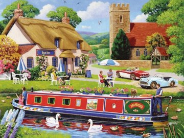 Dom nad rzeką - łódka, łabędzie, rzeka, dom