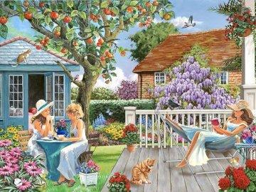 Primăvara în grădină. - Puzzle primăvară în grădină.