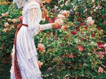Kobieta i róże. - Malarstwo. Kobieta wśród róż.