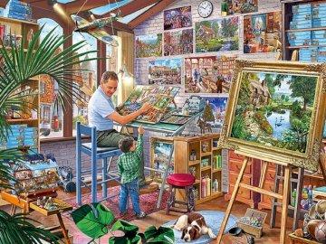 Warsztat malarski - Warsztat malarski, pracownia, obrazy, sztuka
