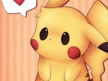 Słodki, mały Pikachu - Słodki, mały i uroczy obrazek znanego pokemóna Pikachu, napewno skradnie wszystkie serca <3