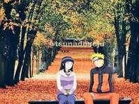 Podzim v Naruto - Naruto a Hinata v lese na podzim