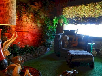 The Jungle Room At Elvis Presley's Graceland - It became known as the Jungle Room because of its furnishings, as well as the built-in waterfall of