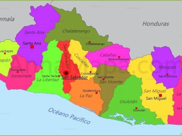 map of el salvador - map of el salvador division by department
