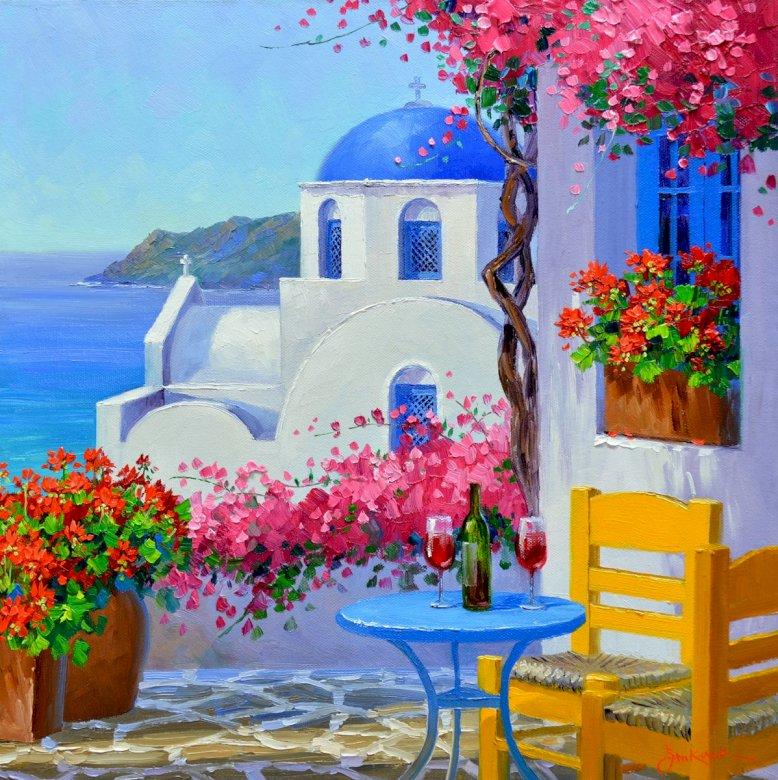 Romance em Santorini - Terraço florido. Vista, ilha grega, verão. M (10×10)