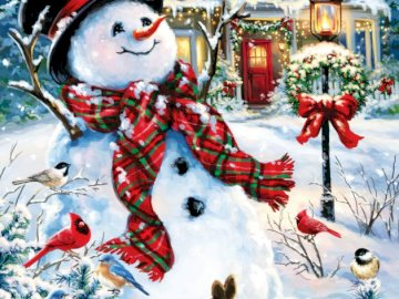Positive snowman - snowman, winter, holidays, home