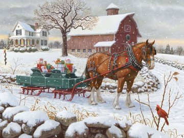 Zaprzęg z prezentami - zima, dowóz prezentów, koń