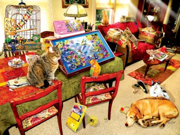 Missing piece - animals at home, puzzles