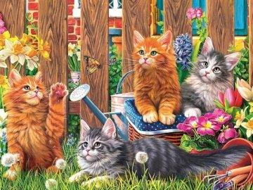 Pisicile din grădină. - Animale de companie. Jigsaw puzzle. Pisici.