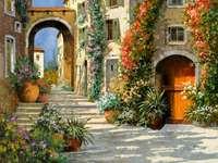 calle floreada