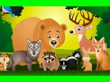 Zwierzęta leśne - To prosta łamigłówka do grania i oglądania zwierząt leśnych.