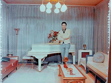 Elvis Presley At Graceland - This Is Rare Photo Of Elvis Presley Is Standing In The Music Room Near Is Piano.