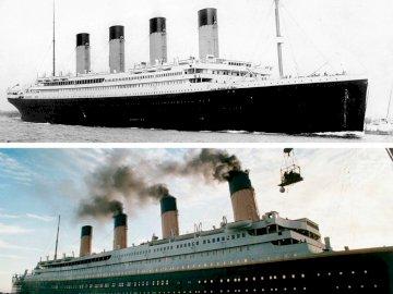 """RMS Titanic - O fotografie, în jurul anului 1912, cu """"de neînceput"""" RMS Titanic, partea de sus și nava, aș"""
