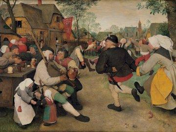 Pieter Bruegel - The Peasant Dance - sztuka, malarstwo, Bruegel, postacie