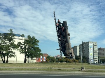 locomotive to heaven - Train to the sky - installation located in Wroclaw
