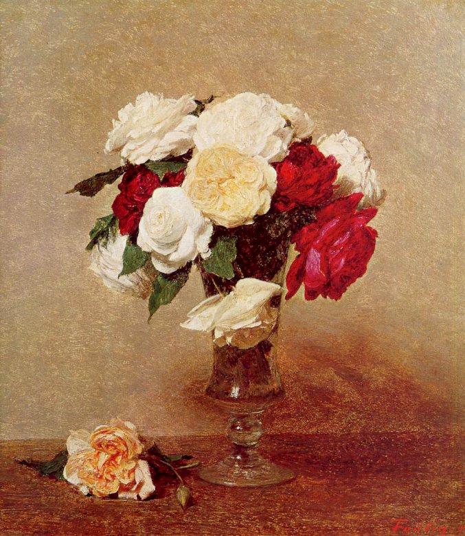 Csokor rózsa - Kép egy csokor rózsa vázában (8×8)