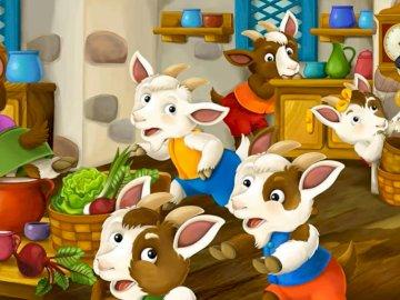 """Puzzle - ein Wolf und sieben Kinder - Szene aus dem Märchen """"Wolf und die sieben Ziegen"""""""