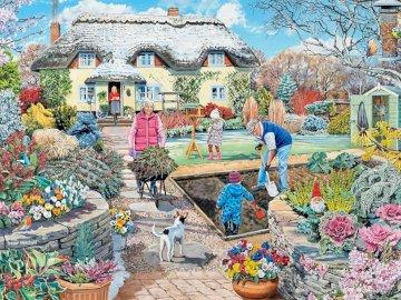 Prace w ogrodzie - prace ogrodowe, ogród, rodzina