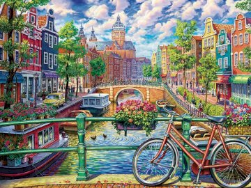 Amsterdam Canal - kanał w Amsterdamie, widok