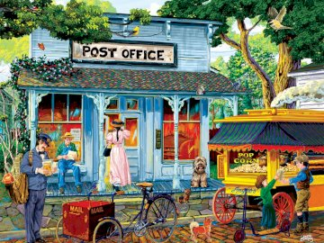 Post office - post office, town, traffic, people