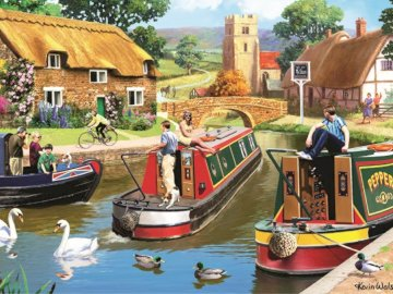 Traffic on the channel - canal traffic, English village