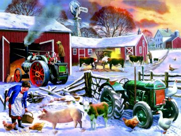 Fazenda do campo - fazenda rural no inverno