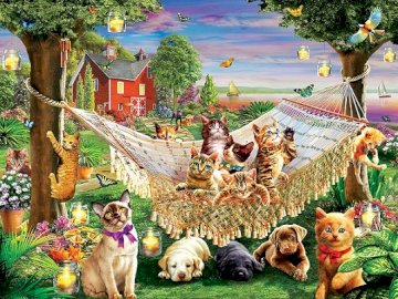 Dogs and kittens. - Puzzle: dogs and kittens.