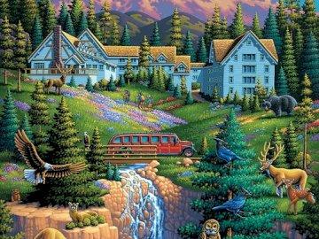 Mountain landscape. - Puzzle: mountain landscape.