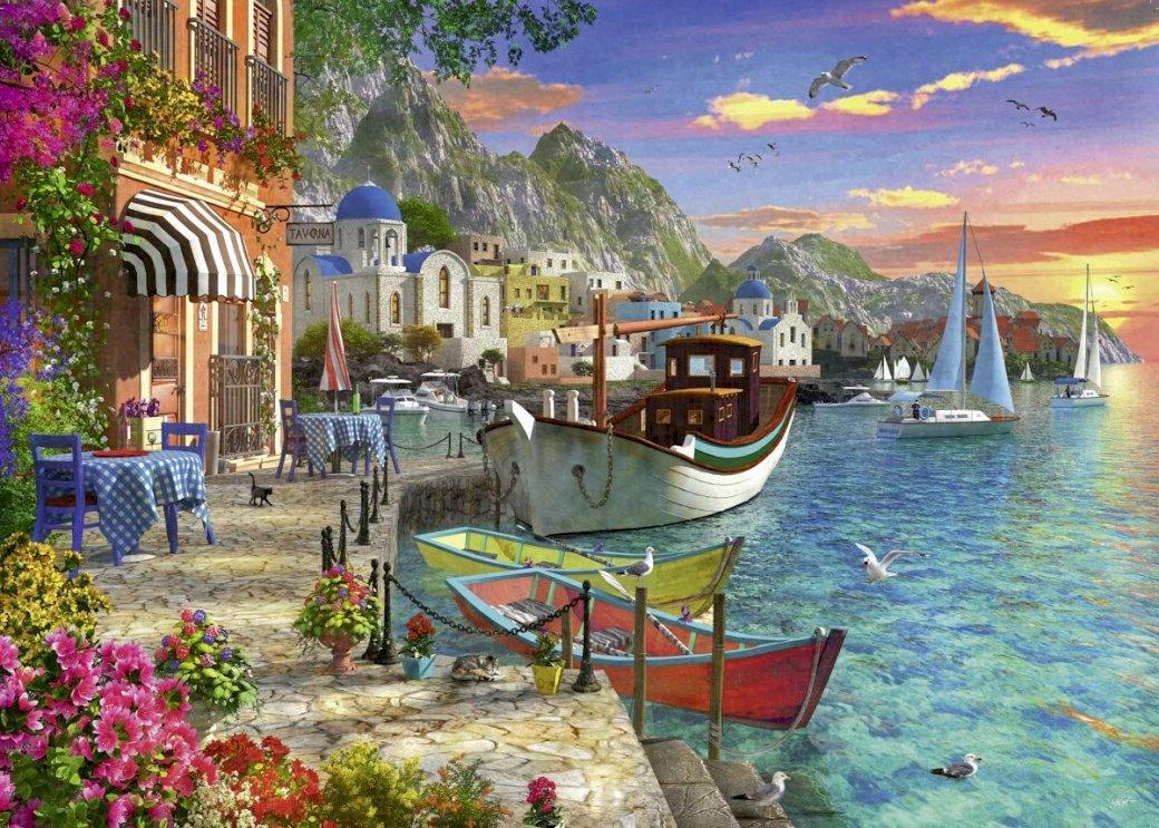 Inselhafen - Hafen auf einer griechischen Insel (11×9)