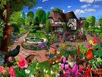En un colorido jardín.