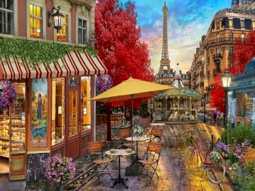 Paris street. - Puzzle: on a Paris street.